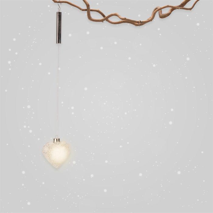 Cœur LED en verre à suspendre, 10 cm