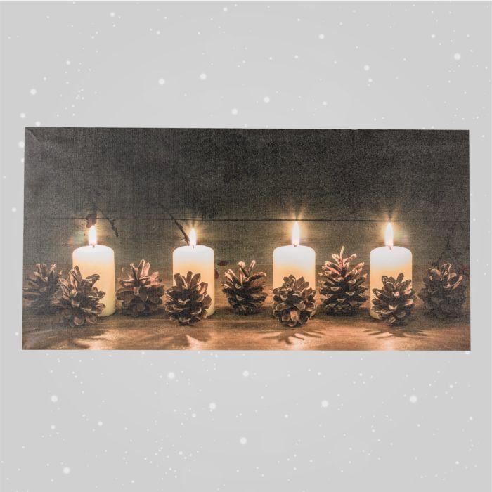 LED-Bild Advent-Motiv aus Canvas mit 4 LED warm weiss