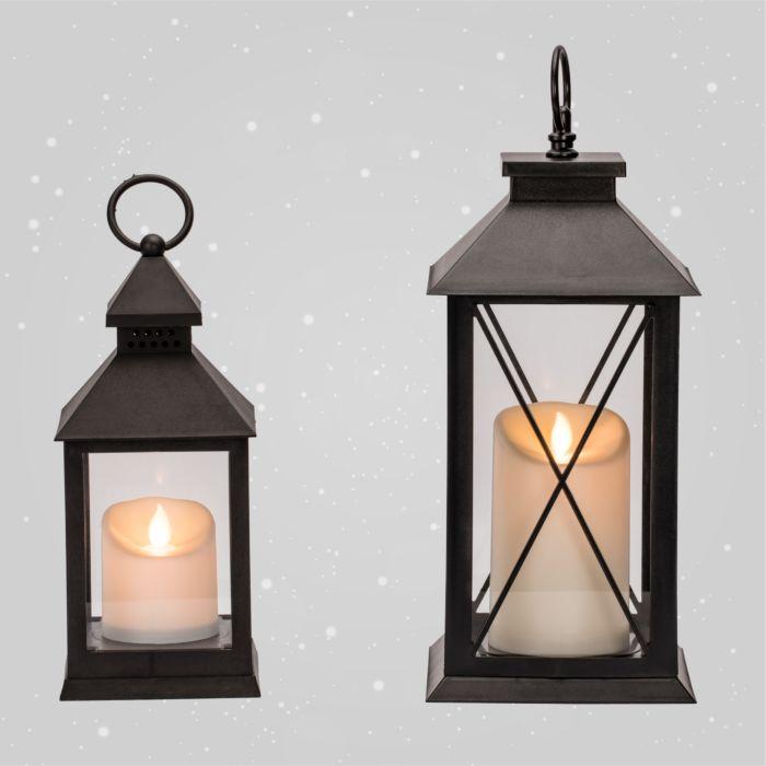 Laterne mit LED-Kunststoff-Kerze