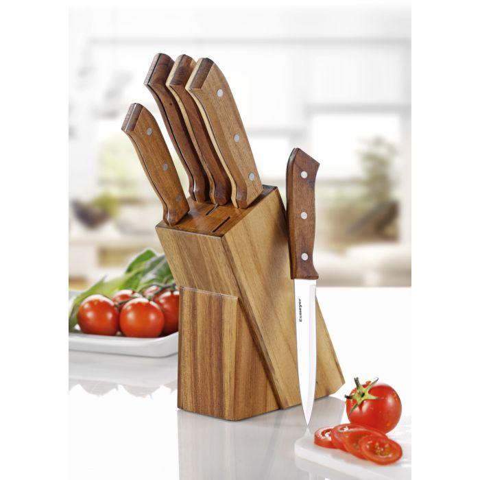 Messerblock aus Akazienholz mit 5 Edelstahl-Messer