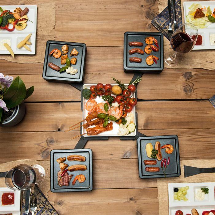 Gril de table Gourmet-Star avec 4 plaques pivotantes