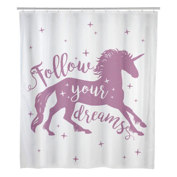 Duschvorhang Unicorn pink-weiss