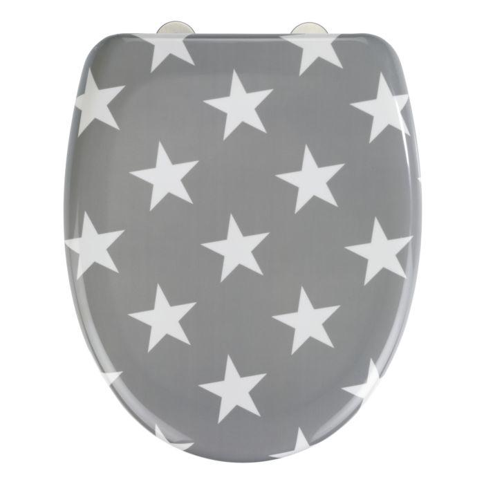 WC-Sitz Stella mit Sternen grau-weiss