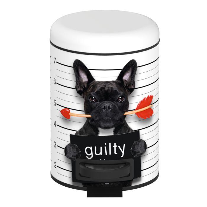 Kosmetik-Treteimer Guilty Dog schwarz-weiss