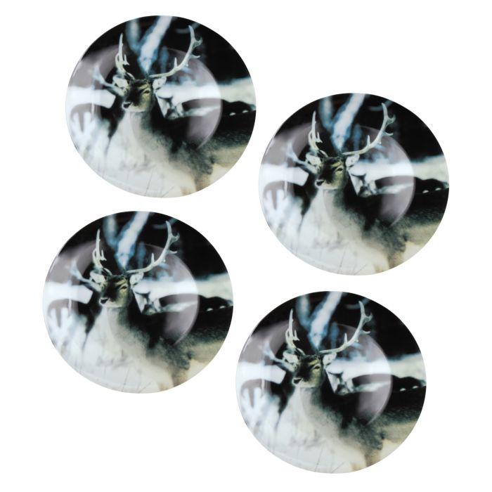 4er-Set Teller mit Hirsch-Motiv dunkel