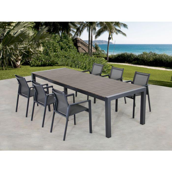 Ausziehbarer Gartentisch mit 6 Armlehn-Stühle