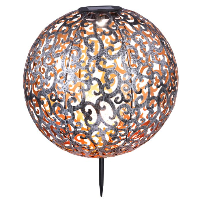 LED-Solarbodenleuchte, aus Metall mit schönem Dekor