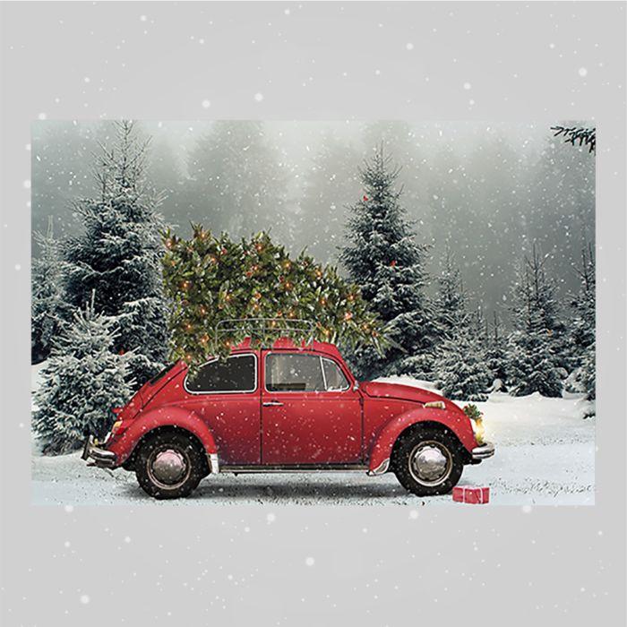 Tableau LED, coccinelle VW rouge