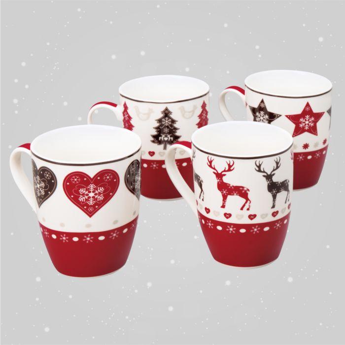 Xmas Keramik Tassen 4er-Set Geschenkbox
