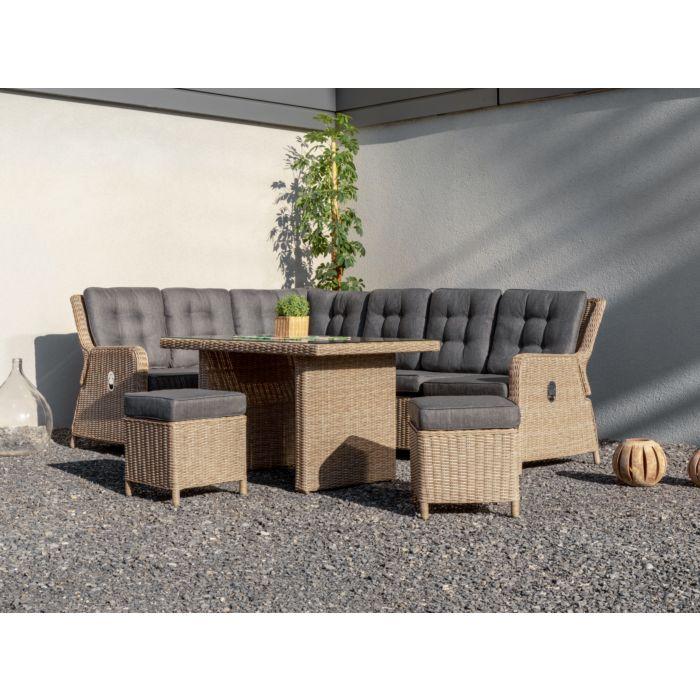 Salon de jardin d'angle avec table
