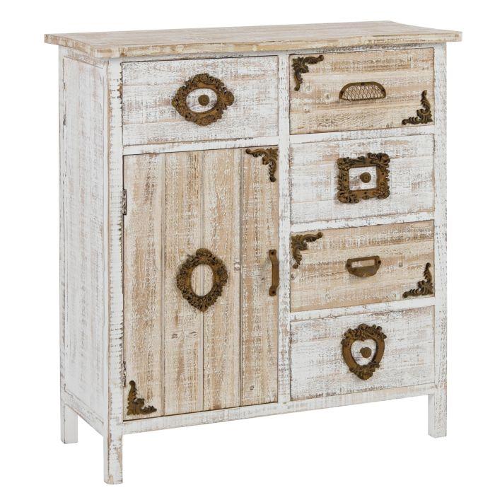 Commode Juliet en bois brossé blanc, 1 porte, 5 tiroirs