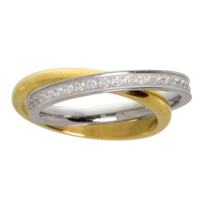 Bague entrelacé en acier inox avec cristaux, doré/couleur argent