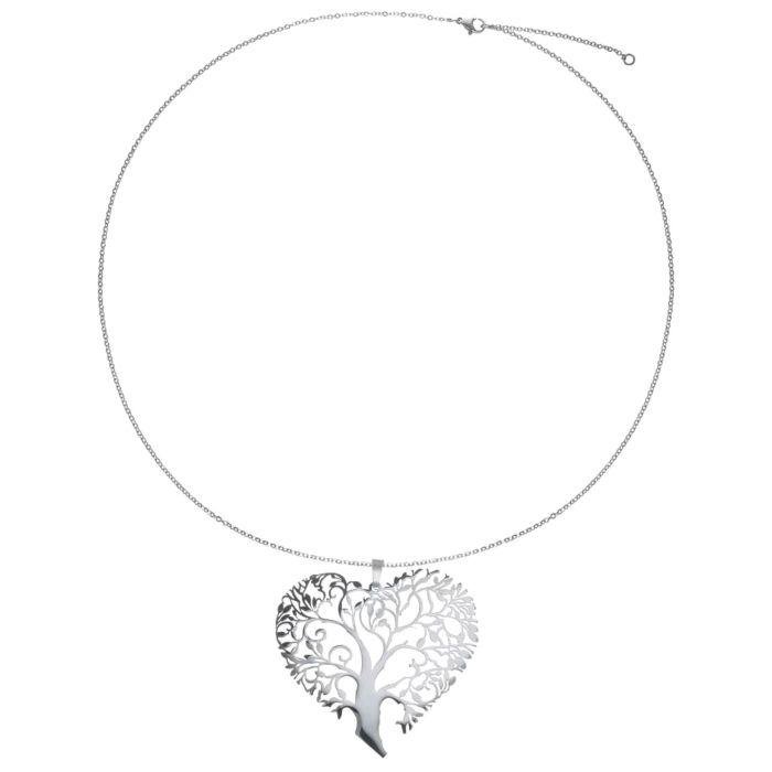 Chaîne en acier inox avec pendentif Arbre/Cœur