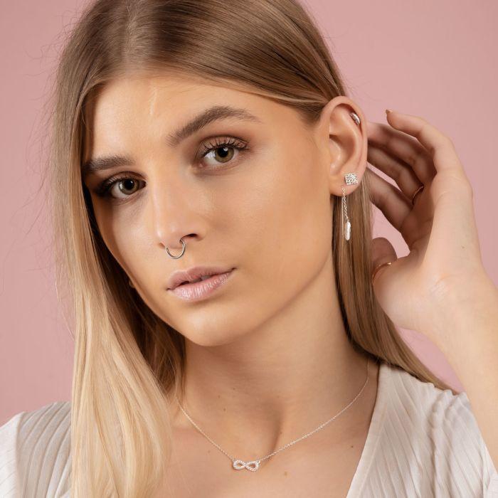 Silber-Kette 925 mit Kristall-Anhänger Infinity
