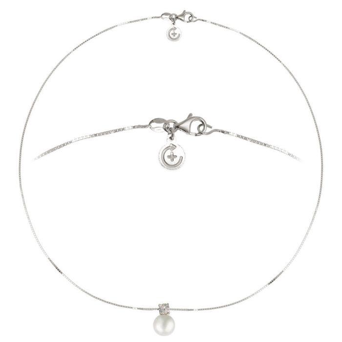 Chaîne en argent 925 avec pendentif avec zircon et  perle