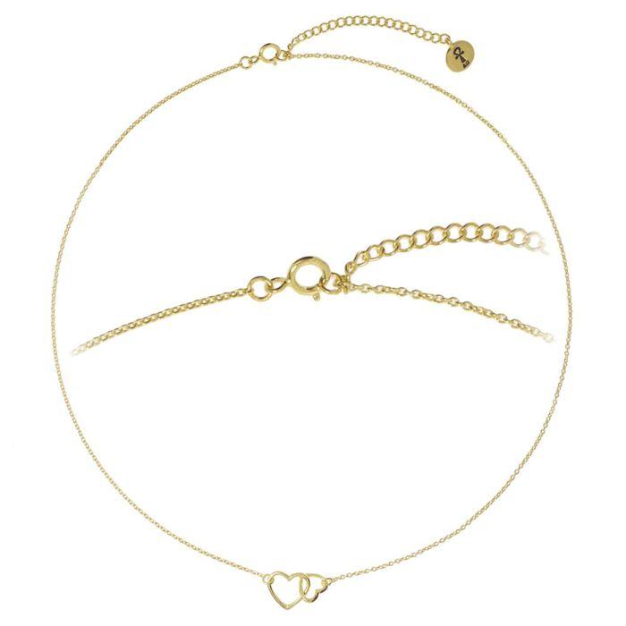 Silber-Kette 925 mit Anhänger Herzen, vergoldet