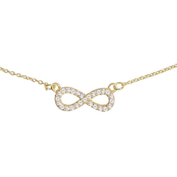 Chaîne en argent 925 avec pendentif Infinity en cristal, dorée