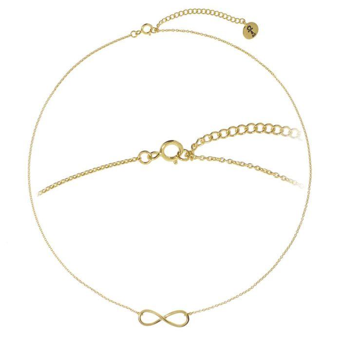 Chaîne en argent 925 avec pendentif Infinity, dorée