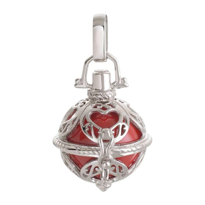 Pendentif avec clochette en argent 925, rouge-argent