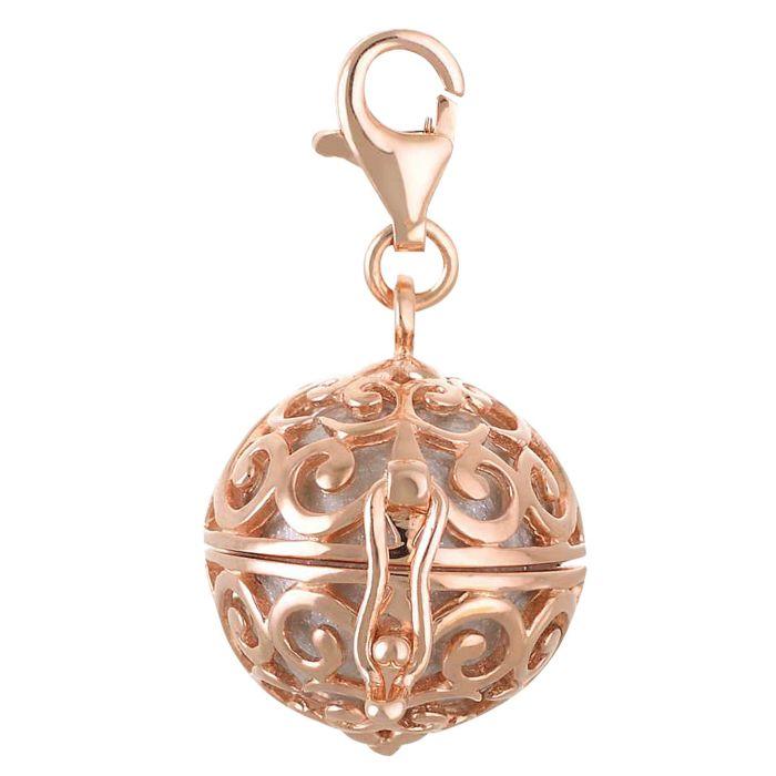 Pendentif en argent 925 avec clochette, argent-or rose
