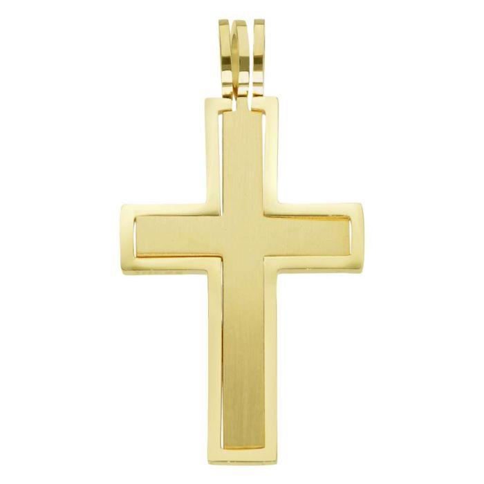 Edelstahl-Anhänger Kreuz, goldfarbig