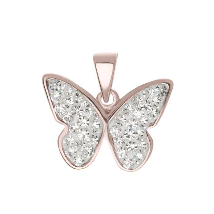 Silber-Anhänger 925 Schmetterling, roségold-farbig