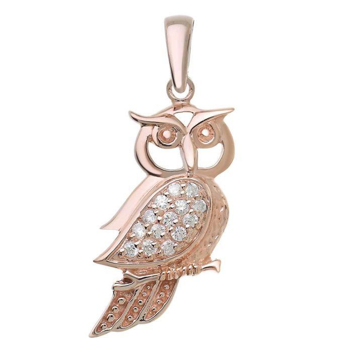 Pendentif Hibou en argent 925 avec cristal, couleur or rose