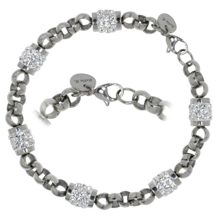 Bracelet en acier inox avec cristaux Swarovski