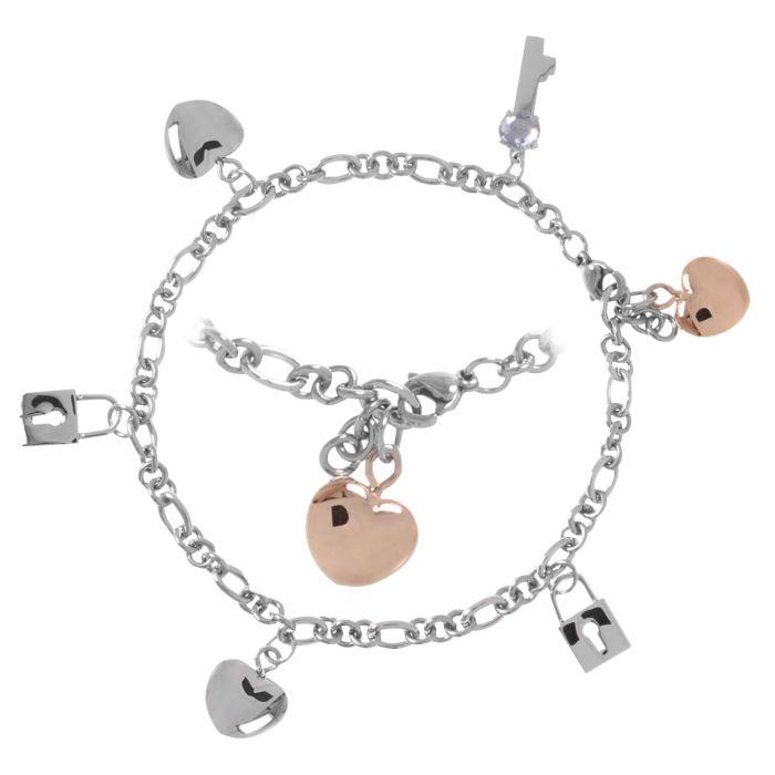 Bracelet en acier inox avec pendentifs Cœur, Clé, Serrure