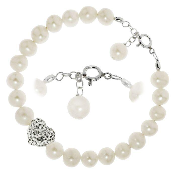 Bracelet en argent 925 avec perles d'eau douce et cœur en cristal