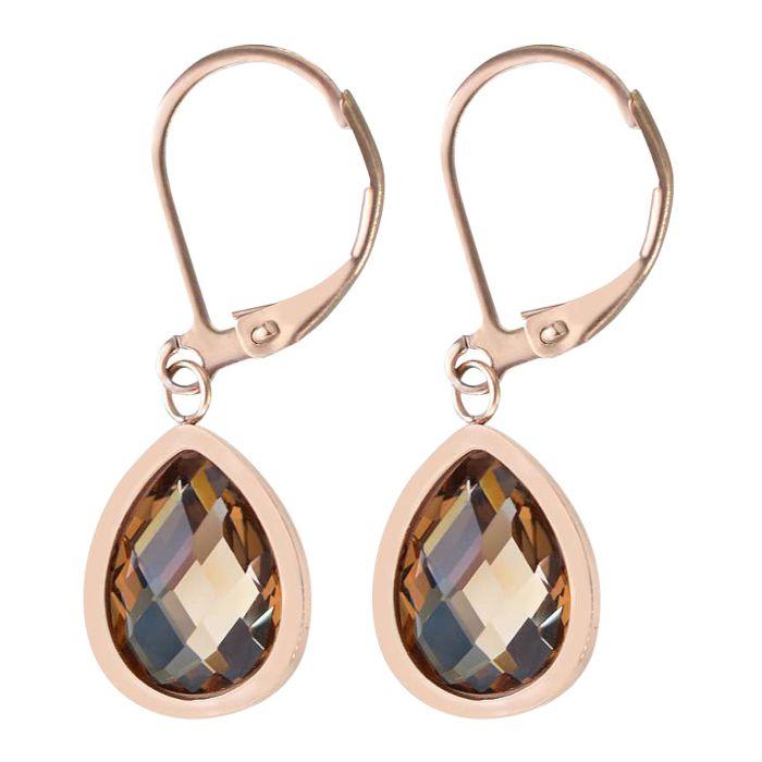 Pendants d'oreilles en acier inox avec cristal, couleur or rose