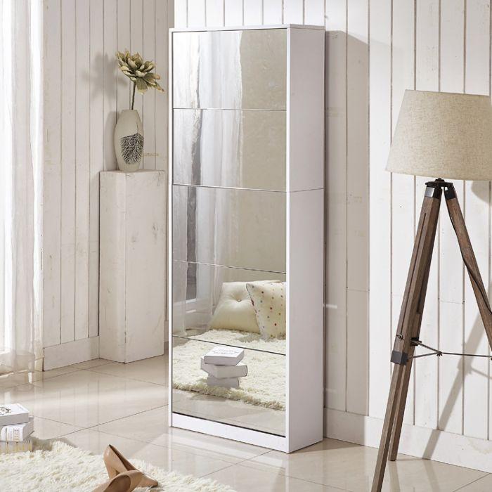 Combinaison d'armoires à chaussures à miroir