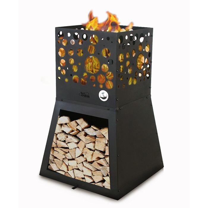Feuerschale mit Holzregal, trennbar
