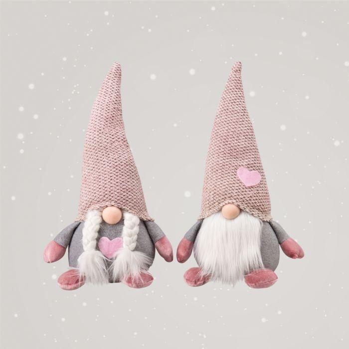 Couple de lutins (2 pièces) avec bonnets roses et cœurs appliqués