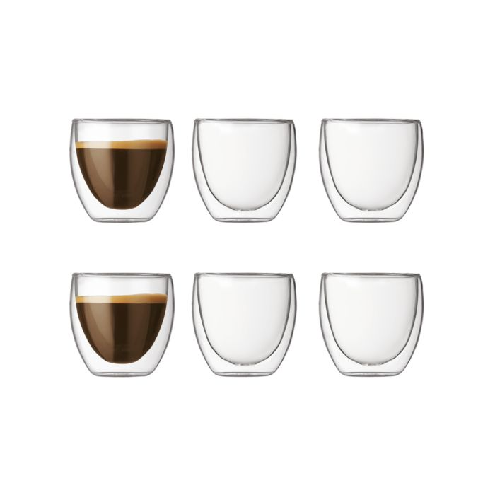 Bodum Transparente Doppelwandige Trinkgläser im 6er Set, 0.08 l