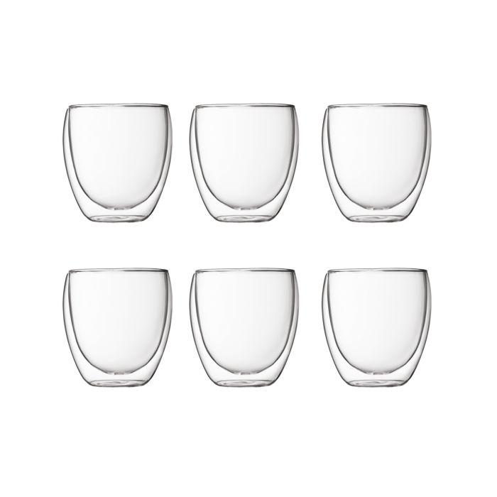 Bodum Transparente Doppelwandige Trinkgläser im 6er Set, 0.25 l