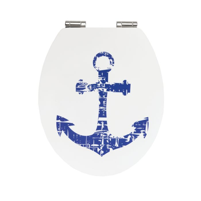 WC-Sitz Shore mit Absenkautomatik, weiss-blau