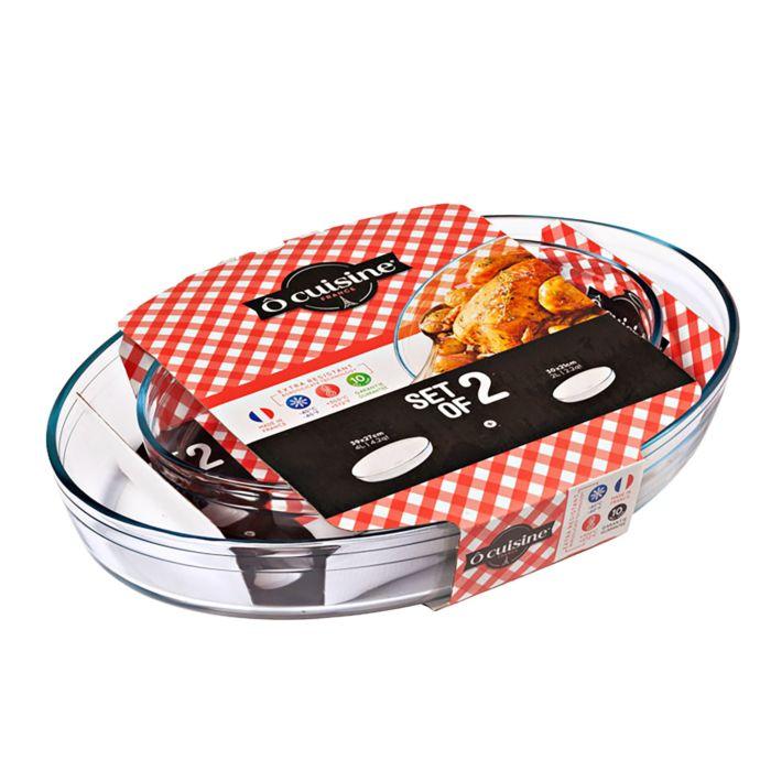 Ô Cuisine Auflaufform 2er Set Oval, Borosilikatglas