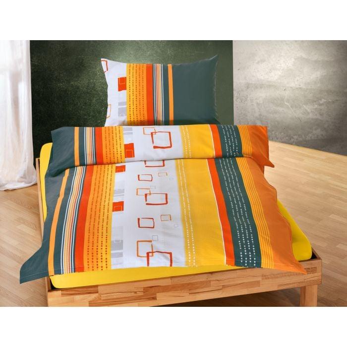 Bettwäsche mit Quadratmusterung und Streifen in Orange- und Grautönen