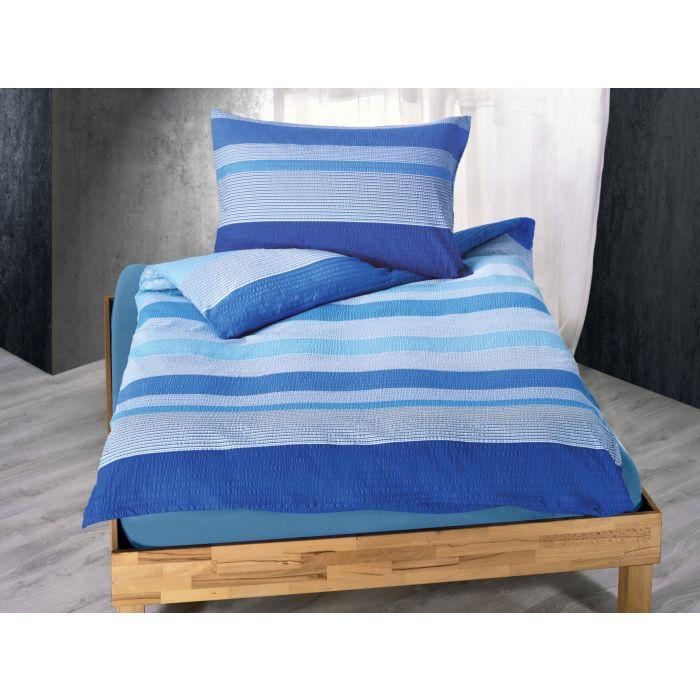 Linge de lit à rayures transversales en bons tons de bleu