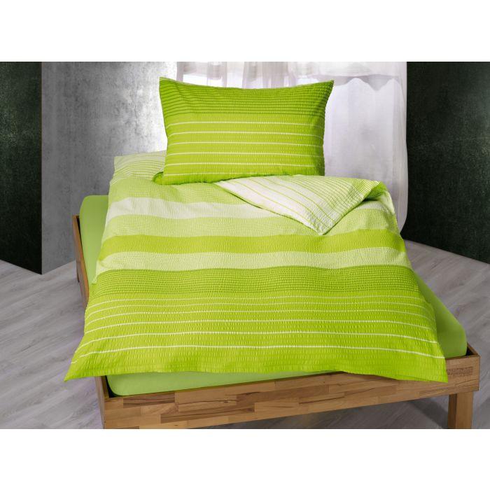 Bettwäsche gestreift in hellem Grün