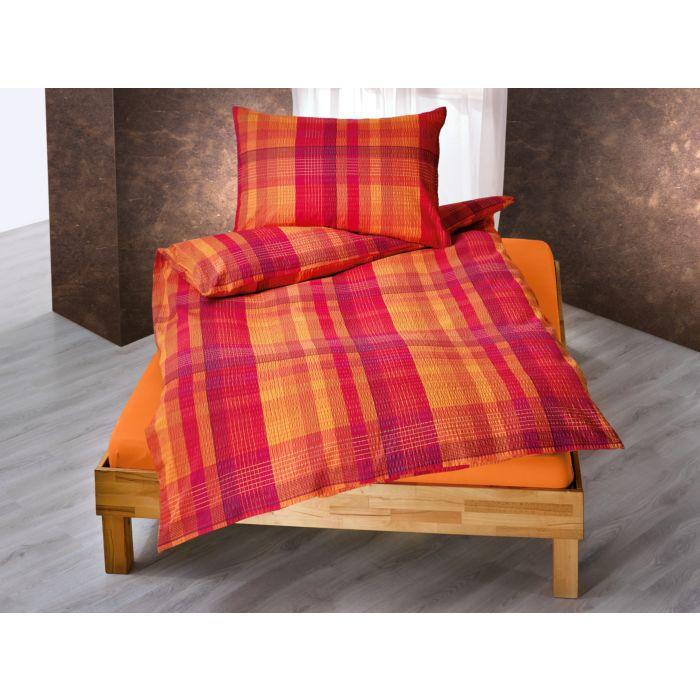 Bettwäsche orange-violett mit Querstreifen und Längsstreifen