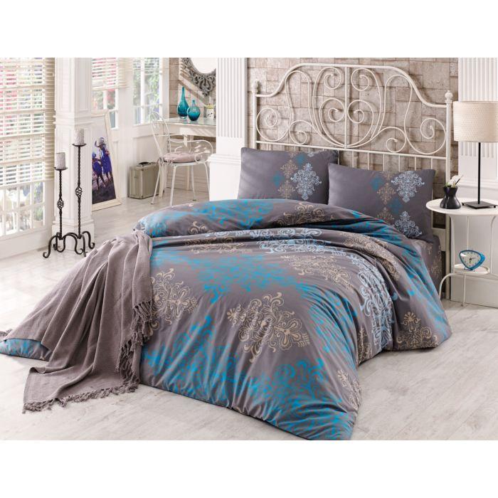 Linge de lit au motif ornemental brun-bleu