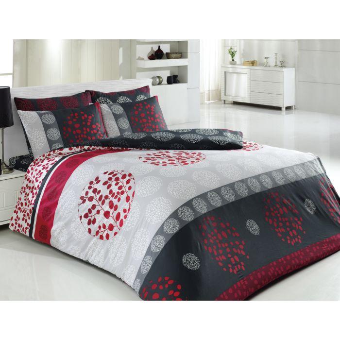 Linge de lit imprimé, gris-rouge-blanc