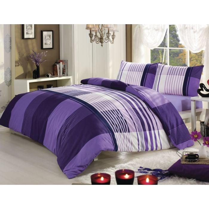 Bettwäsche violett-weisses Karomuster