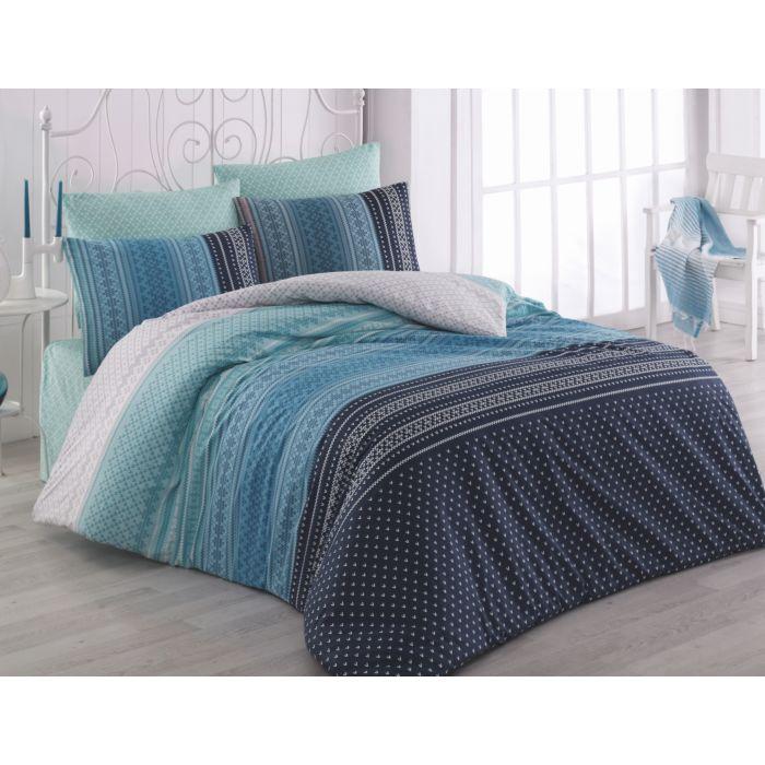Bettwäsche nordisches Muster in Blau-Tönen