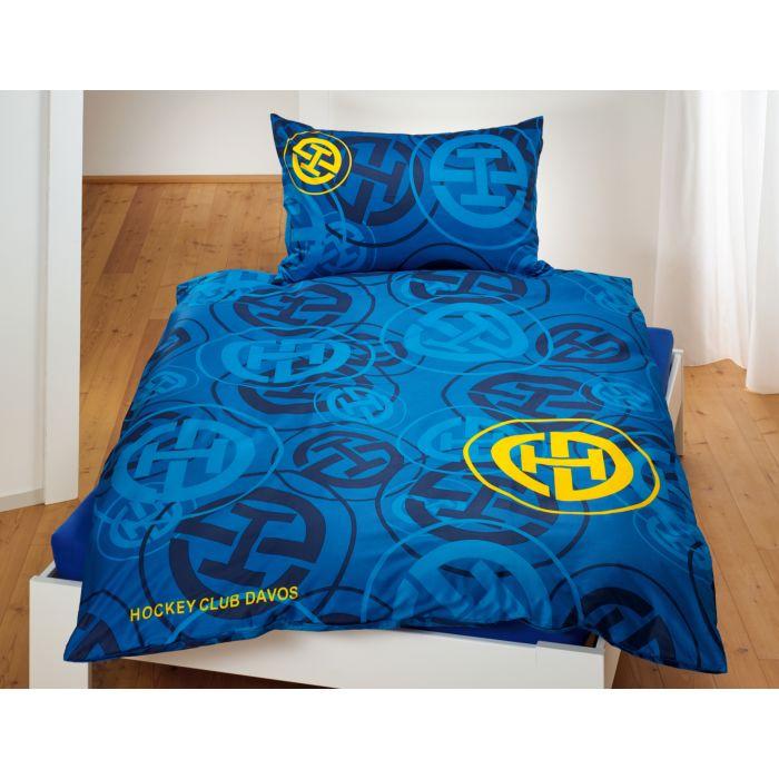 Parure de lit HC DAVOS bleu avec logo