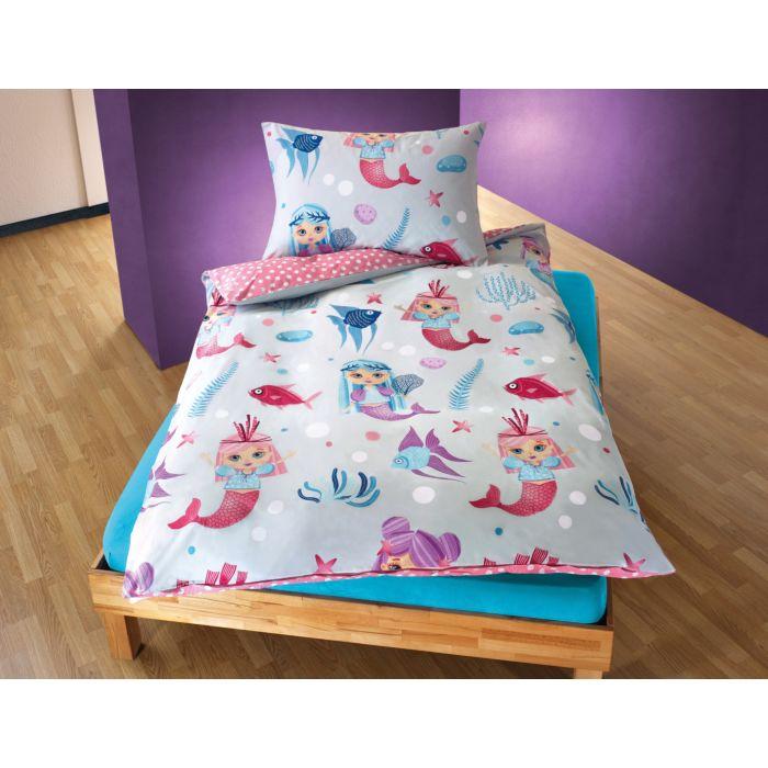 Bettwäsche mit farbenfrohen kleinen Meerjungfrauen