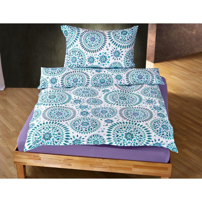 Linge de lit avec motif de mandala en turquoise et lilas