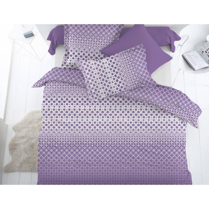 Bettwäsche mit verbundenen Kreisen lila-weiss